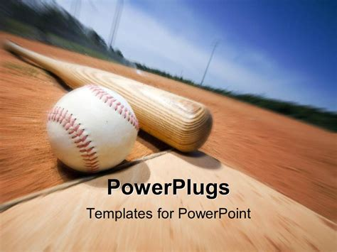 baseball template free powerpoint template a baseball and a bat with blurred background 2897