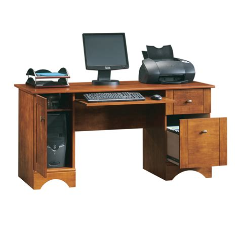 kitchen collection reviews shop sauder brushed maple computer desk at lowes com