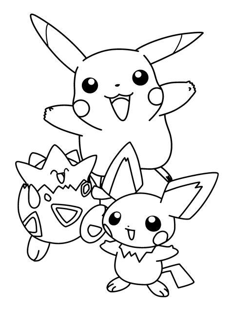 pokemon pikachu  friends pokemon coloring pages