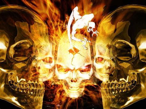 imagen de pantalla calaveras en fuego