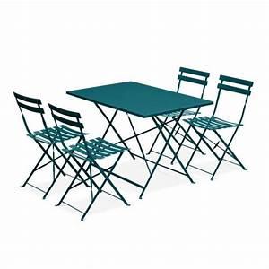 Salon De Jardin Bistrot : salon de jardin bistrot pliable emilia rectangulaire bleu canard avec quatre chaises pliantes ~ Teatrodelosmanantiales.com Idées de Décoration