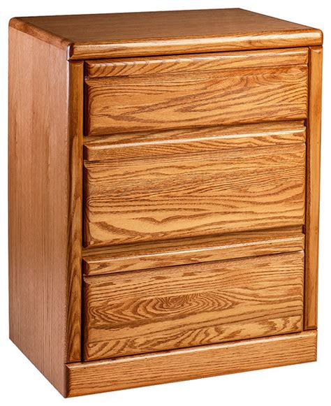 Oak Nightstand With Drawers by Bullnose Oak 3 Drawer Nightstand Transitional