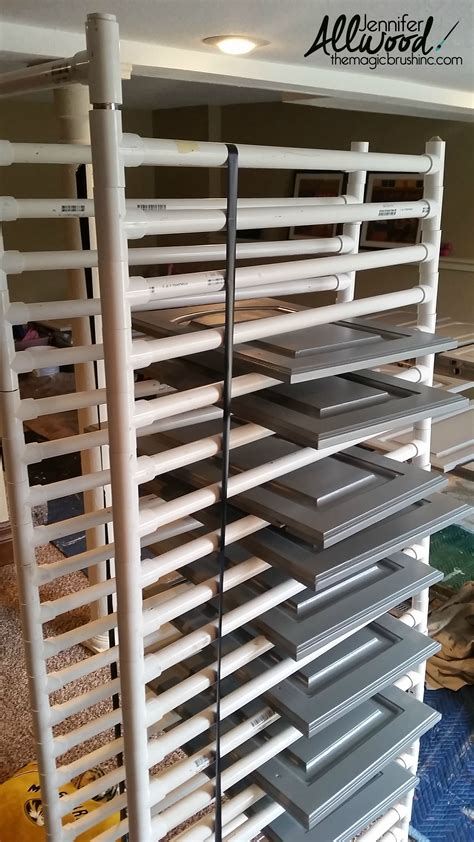 cabinet door painting rack our kitchen 39 s new gray cabinets are gorgeous