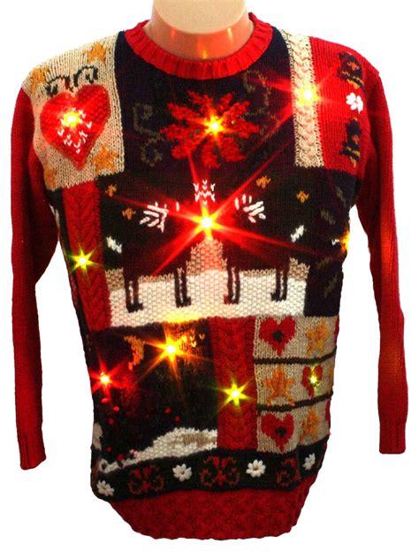 light up ugly sweater light up ugly christmas sweater karen scott unisex red
