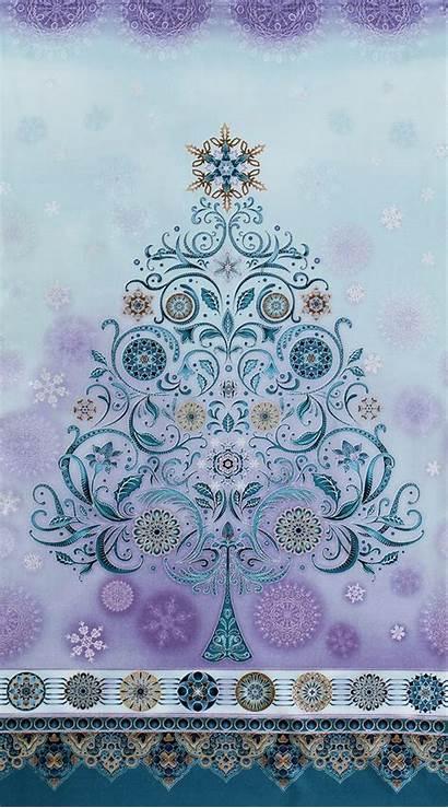 Fabric Winter Grandeur Kaufman Robert Panel Tree
