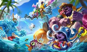 Pool Party Mundo, Lulu, Zac & Draven | LoL Wallpapers