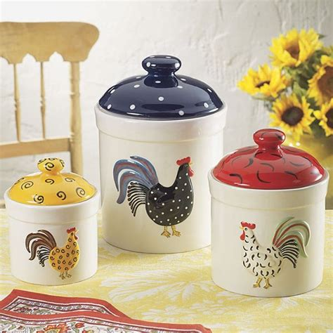 rooster kitchen canisters 21 best ceramic rooster kitchen canister set images on