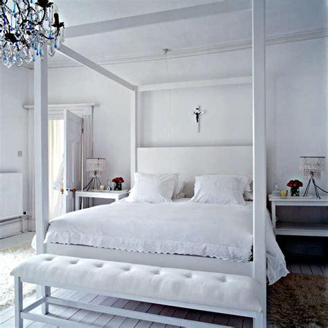 White Canopy Bed In White Room  Interior Design Ideas