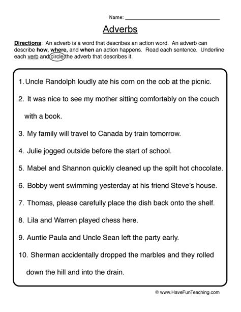 adverb worksheets  fun teaching