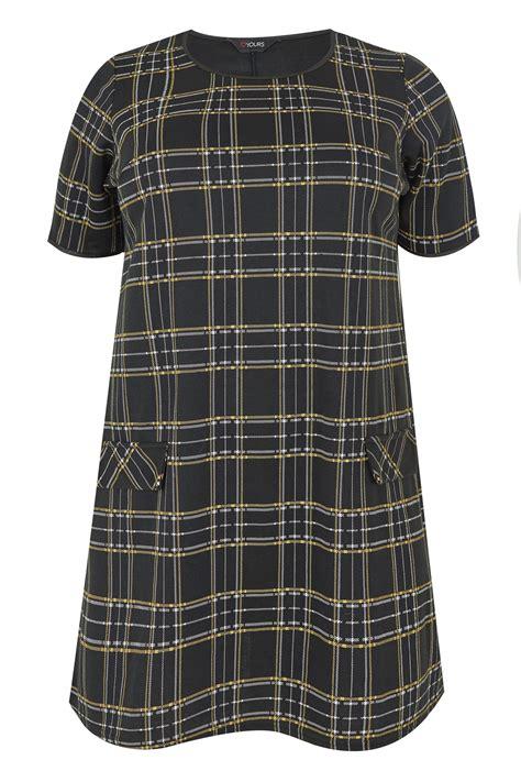 Black Yellow Check Tunic Dress Plus Size
