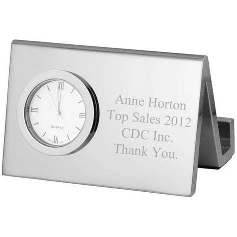 personalized business card holder for desk personalized silver desk clock with business card holder