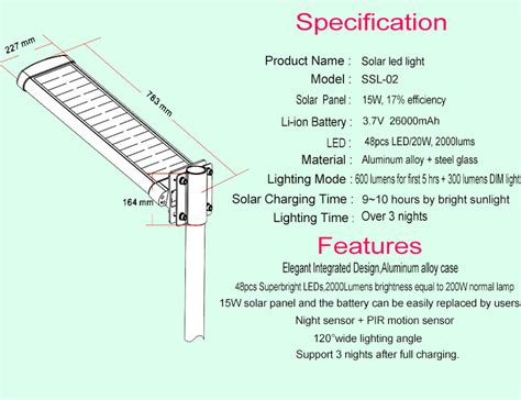 solar light technical specifications home design