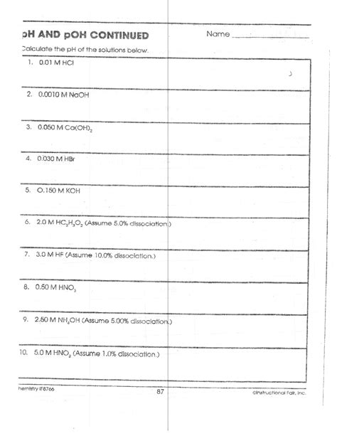 Printables of Ph And Poh Continued Worksheet Answers - Geotwitter ...