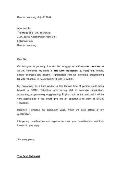 Surat Lamaran Pekerjaan Docx by Doc Contoh Surat Lamaran Pekerjaan Dalam Bahasa Inggris