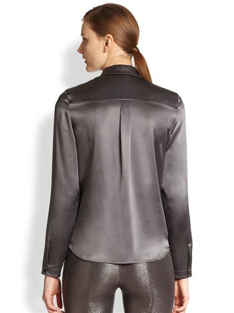 satin blouse akris silk satin blouse in gray lyst