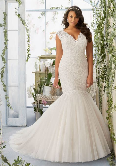 Morilee Bridal Embroidered Appliqués On Tulle Mermaid Plus