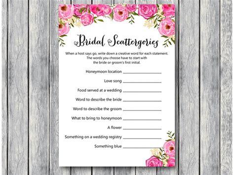 Fuchsia Scattergories Bridal Shower Game Printabell