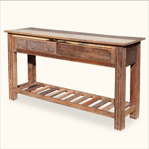 Rustic Reclaimed Wood 2 Tier Storage Drawer Console Foyer