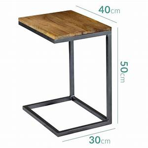 suri modern industrial small side table in mango wood With 30cm x 30cm lamp table