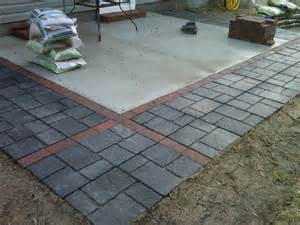 concrete patio expanded with pavers flagstones http