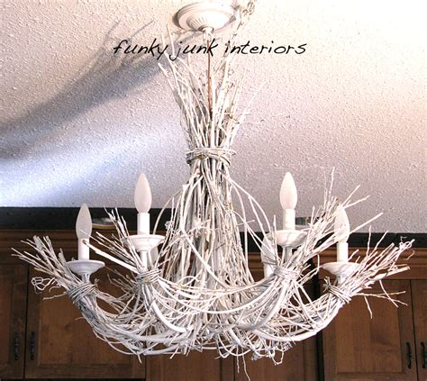 the junkyard chandelier lighting up my with a white twig chandelierfunky junk