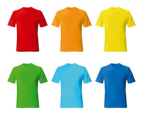 set color male tshirt template realistic mockup stock