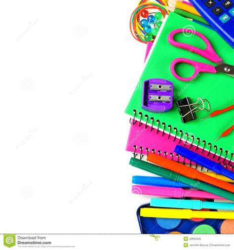 school supplies border stock photo image