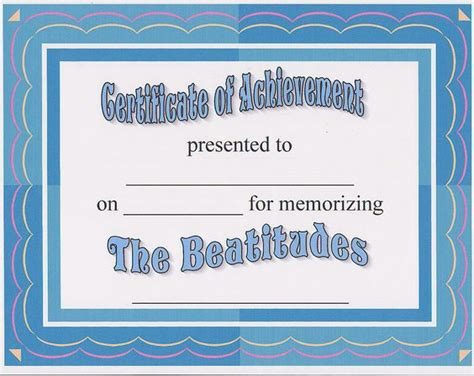 Bible Memorization Certificates Learned My Memory Verse A Certificate For Memorizing The Beatitudes It Can Be