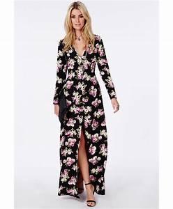 robe longue fendue decollete en v noire fleurie robes With robe noire fendue