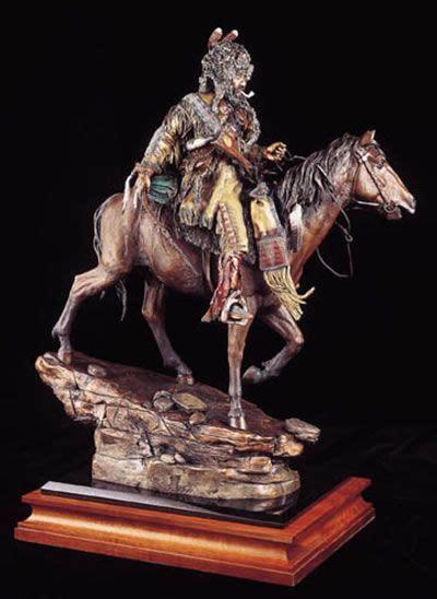 high lonesome mountain man  horse sculpture