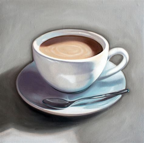 Easy painting tutorial in acrylics for beginners. Cup of Coffee - Oil Painting by Lauren Pretorius ...