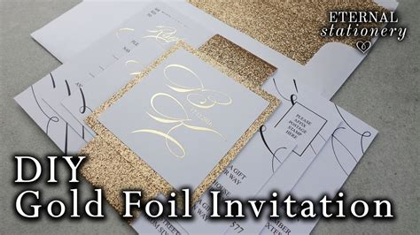 D.I.Y Gold foil belly band Wedding Invitations   How to make your own wedding invitation   YouTube