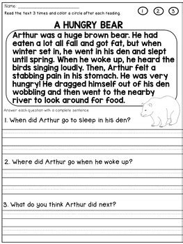grade reading comprehension passages  questions