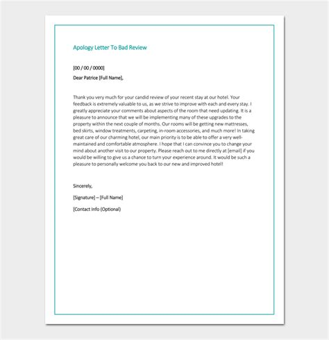 apology letter  hotel  samples fillable formats