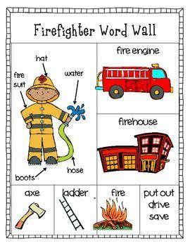 freebie firefighter word wall writing center preschool 219 | 5e91e5f46f7881b04a625e5ccc83679a