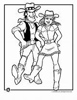 Cowboy Cowgirl Dancing Coloring Pages Line Dance Western Adult Jr Animal Cowboys Colouring Drawings Country Square Animaljr Digi Svg Theme sketch template