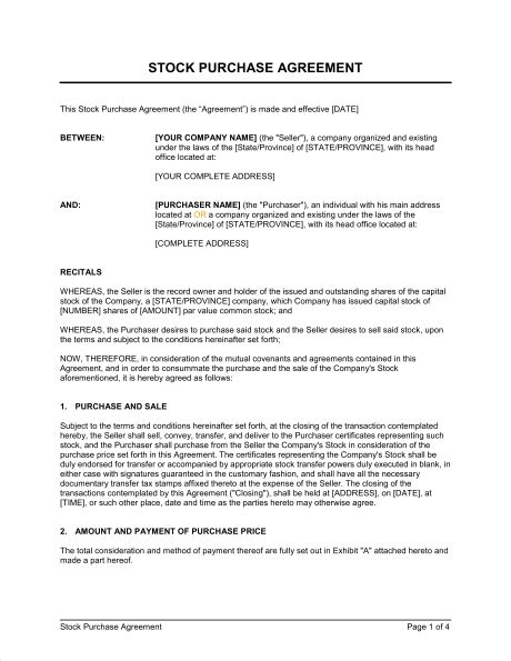stock purchase agreement template sample form
