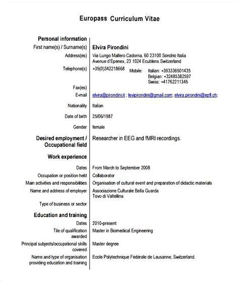 sle europass curriculum vitae pdf free sles