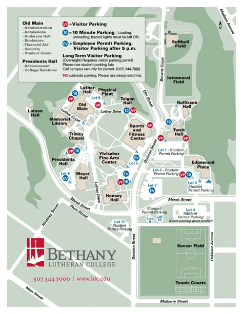 campus maps bethany lutheran college