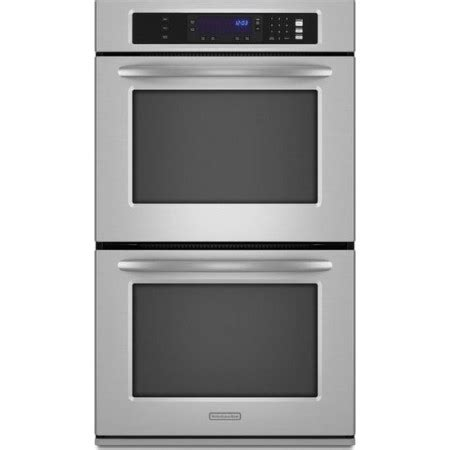 kitchenaid kebksss  double electric wall oven   cu ft upperlower thermal ovens