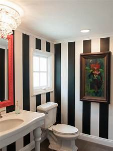 Elegant Designs Inc Black And White Striped Powder Room With Colorful Accents