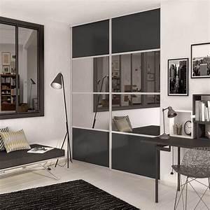revgercom porte coulissante miroir pour dressing idee With porte de douche coulissante avec spot miroir salle de bain