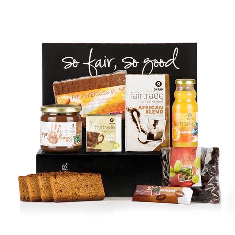 panier de basket de bureau oxfam fair trade coffret cadeau petit déjeuner pour 2