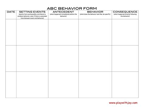 Abc Behaviour Chart Template by Play With Llc June 2013