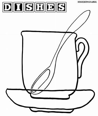 Dishes Coloring Pages Spoon Mug Coloringway