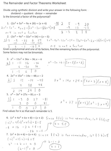 synthetic division worksheet no remainders remainder