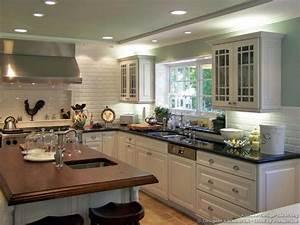 White Kitchen Cabinets Dark Countertops White Appliances