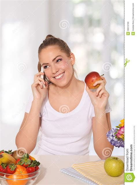 while on the phone beautiful an apple while talking on the