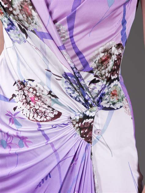 Blumarine Ruched Wrap Dress in Lilac (Purple) - Lyst