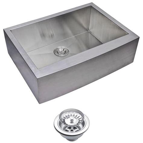 stainless steel single basin kitchen sink water creation farmhouse apron front zero radius stainless 9416